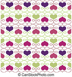 Vintage Seamless Pattern with Hearts