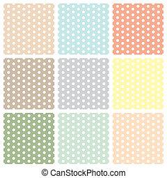Vintage seamless polka dot patterns set
