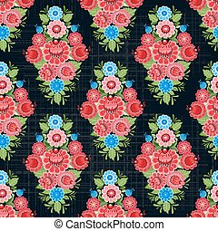 vintage seamless texture with stylized floral ornament on black