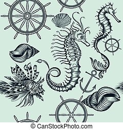 Vintage seamless wallpaper pattern with sea animals.eps -...