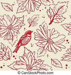 Vintage seamless  with bird