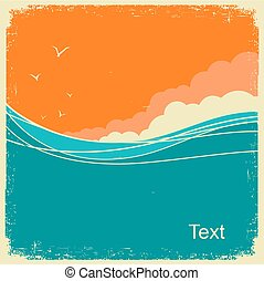 Vintage Seascape on old paper background for text. Ocean waves