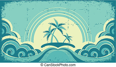 Vintage seascape with tropical palms on island. Grunge image...