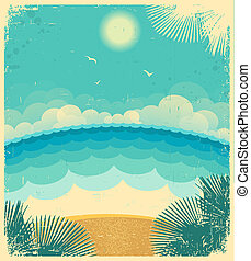 Vintage seascape.Vector background with sea and sun on old paper texture.Vector illustration