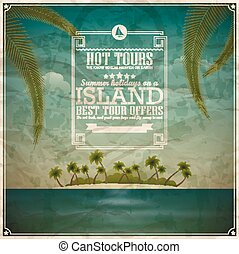 Vintage seaside view poster. Vector background. Desert island