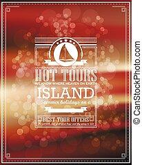 Vintage seaside view poster. Vector background.