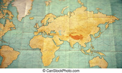 vintage sepia colored world map - zoom in to Asia - blank version