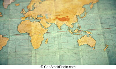 vintage sepia colored world map - zoom in to Australia - blank version