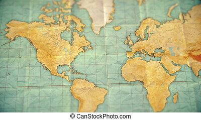 vintage sepia colored world map - zoom in to North America - blank version