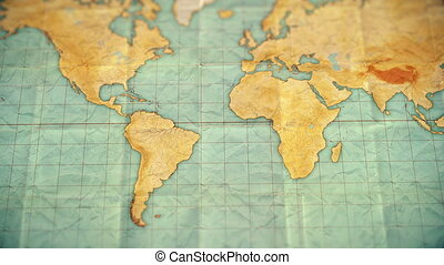 vintage sepia colored world map - zoom in to South America - blank version