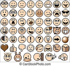 Vintage sepia retro style emoticon set