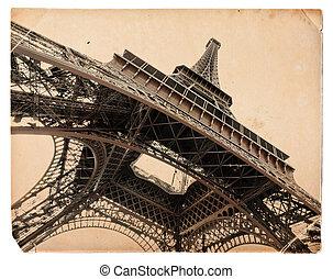 vintage sepia toned postcard of Eiffel tower in Paris -...