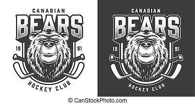 Vintage serious bear sport mascot print