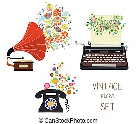 Vintage set - gramophone, typewriter and phone - floral nice design