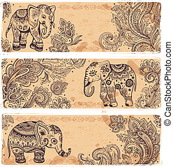 Vintage set of banners with ethnic elephants for your ...
