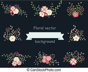 Vintage set of floral elements