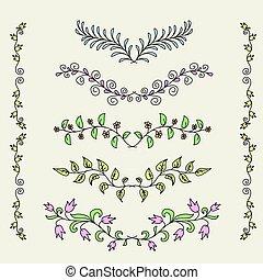 Vintage set of hand drawn rustic laurels. Floral vector graphic.