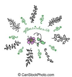 Vintage set of hand drawn rustic laurels. Floral vector graphic.