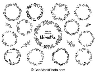 Vintage Set Of Hand Drawn Rustic Wreaths Floral Vector Graphic On White Board Nature