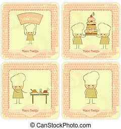 Vintage Set of kids menu Card Designs with chefs