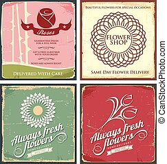 Vintage set of metal tin signs for flower shop. Retro vector...