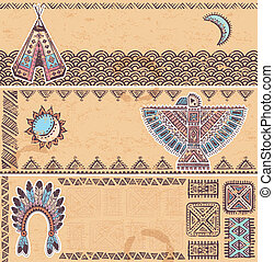 Vintage set of native American banners
