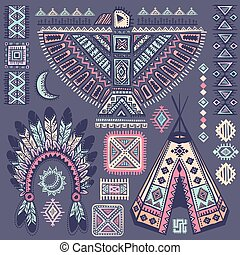 Vintage set of native American  symbols