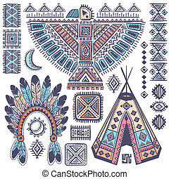 Vintage Tribal native American set of symbols