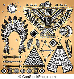 Vintage set of native American symbols - Vintage Tribal ...