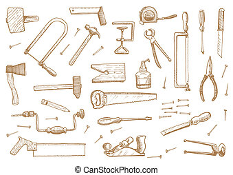 Vintage set of tools Stock Vector Illustration: