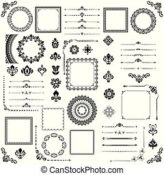 Vintage Set of Vector Horizontal, Square and Round Elements...