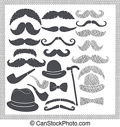 vintage set with mustaches, hats
