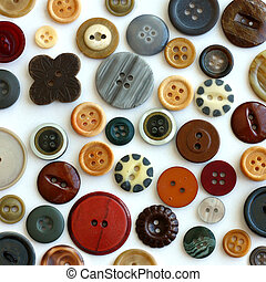 Vintage Sewing Buttons on White