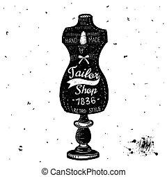 Vintage Sewing Kit Label Design - hand drawn illustration - in vector