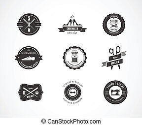Vintage sewing labels, elements and badges