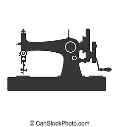 Vintage Sewing Machine Icon on White Background. Vector