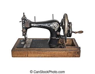 Vintage sewing machine on white background.