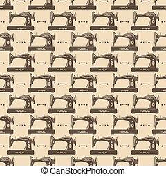 Vintage sewing machine seamless pattern