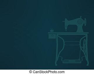 Vintage Sewing Machine sillhouette EPS10