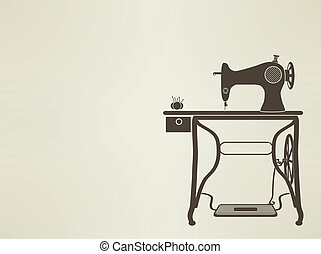 vintage Sewing Machine sillhouette EPS10