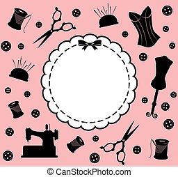 Vintage sewing related elements on the background