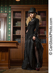 Vintage sexy girl next to the bookcase. gothic