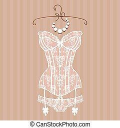 Vintage sexy guipure white corset