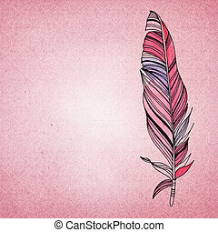 Vintage shabby chic background with feather