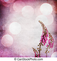 Vintage shabby chic background with purple flower