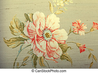 Vintage shabby chic brown wallpaper with floral pattern -...