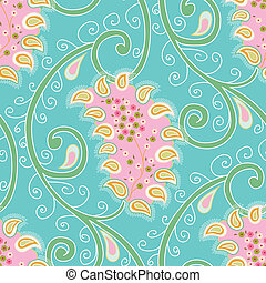 Vintage shabby chic paisley pattern with small daisy ornament on a blue background