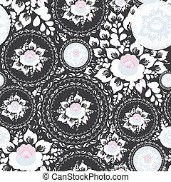 Vintage shabby Chic Seamless ornament, pattern with Pink and white flowers and leaves on black background. Vector
