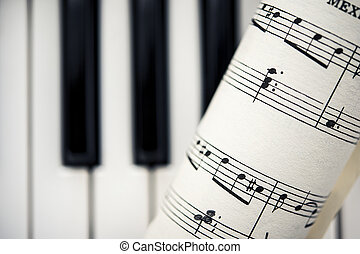 Vintage Sheet Music With Piano Keys