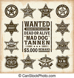 Vintage sheriff badges set - A set of fully editable vintage...